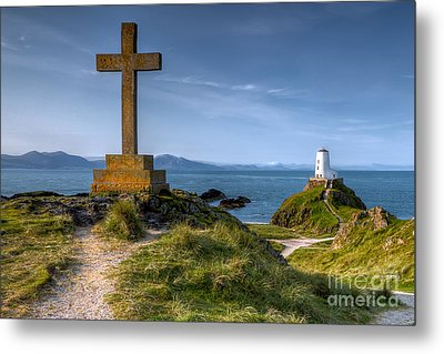 Llanddwyn Cross Metal Print by Adrian Evans