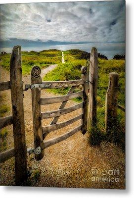 Llanddwyn Island Gate Metal Print by Adrian Evans