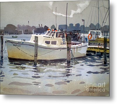 Lobster Boats In Shark River Metal Print by Donald Maier