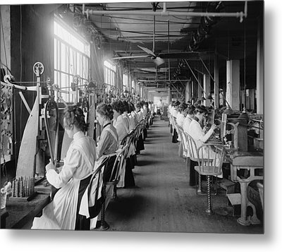 Lock And Drill Department Assembly Line Metal Print by Everett