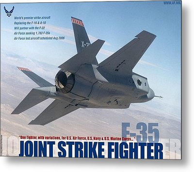 Lockheed Martin F 35 Lightening II Joint Strike Fighter Metal Print by L Brown