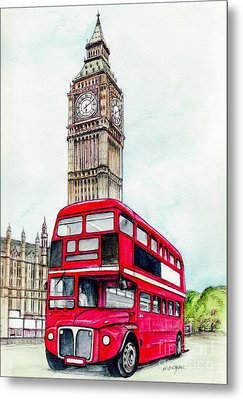 London Bus And Big Ben Metal Print by Morgan Fitzsimons