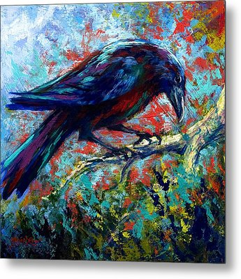 Lone Raven Metal Print by Marion Rose