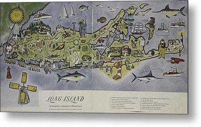 Long Island An Interpretive Cartograph Metal Print by Duncan Pearson