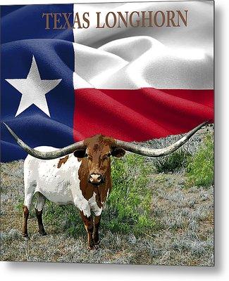 Longhorn Texas Pride Metal Print by Daniel Hagerman