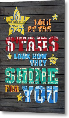 Look At The Stars Coldplay Yellow Inspired Typography Made Using Vintage Recycled License Plates Metal Print by Design Turnpike