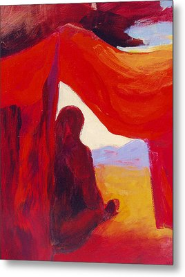 Looking Out Of The Red Tent Metal Print by Renee Kahn