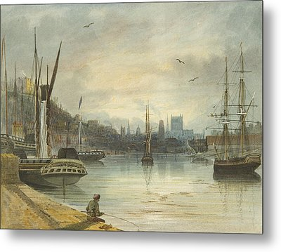 Looking Up The Floating Harbor Towards The Cathedral Metal Print by Thomas Leeson the Elder Rowbotham