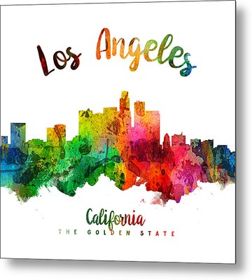 Los Angeles California Skyline 24 Metal Print by Aged Pixel