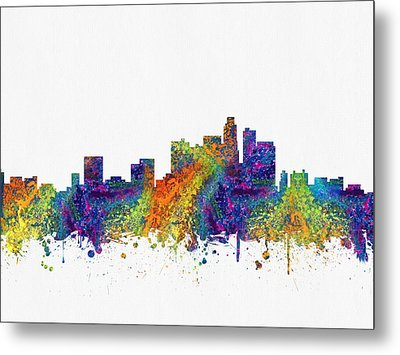 Los Angeles California Skyline Color03 Metal Print by Aged Pixel