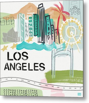 Los Angeles Cityscape- Art By Linda Woods Metal Print by Linda Woods