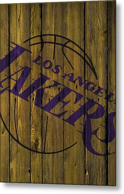 Los Angeles Lakers Wood Fence Metal Print by Joe Hamilton