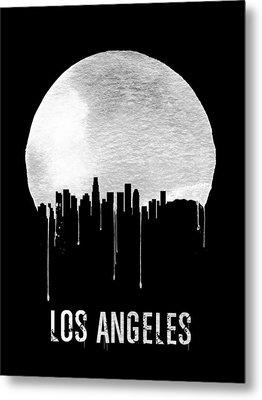 Los Angeles Skyline Black Metal Print by Naxart Studio