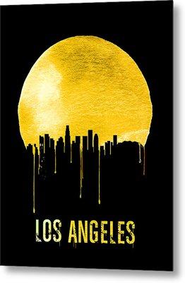 Los Angeles Skyline Yellow Metal Print by Naxart Studio