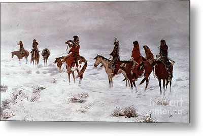 'lost In A Snow Storm - We Are Friends' Metal Print by Charles Marion Russell