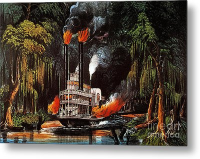 Louisiana: Steamboat, 1865 Metal Print by Granger