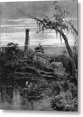 Louisiana: Steamboat Wreck Metal Print by Granger