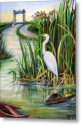 Louisiana Wetlands Metal Print by Elaine Hodges