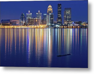Louisville During Blue Hour Metal Print by Frozen in Time Fine Art Photography