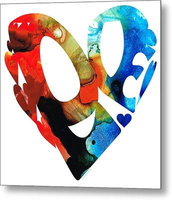 Love 8 - Heart Hearts Romantic Art Metal Print by Sharon Cummings