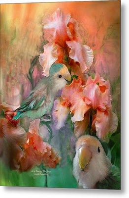 Love Among The Irises Metal Print by Carol Cavalaris