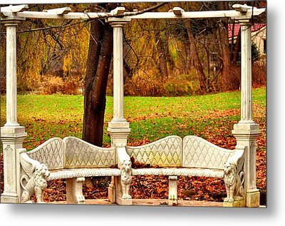Love Bench Metal Print by Puzzles Shum