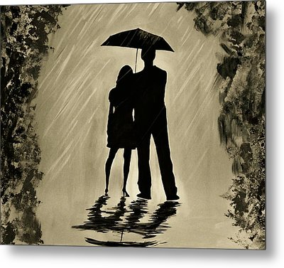 Love In The Rain D Metal Print by Leslie Allen