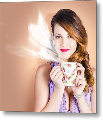 Love Is In The Air. Woman With Coffee Cup Metal Print by Jorgo Photography - Wall Art Gallery