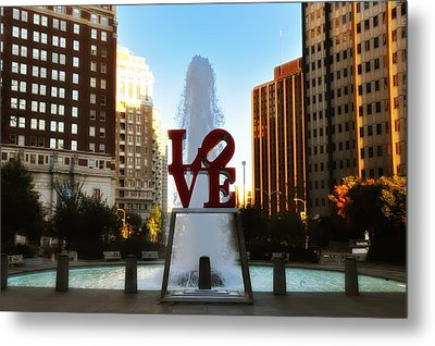 Love Park - Love Conquers All Metal Print by Bill Cannon