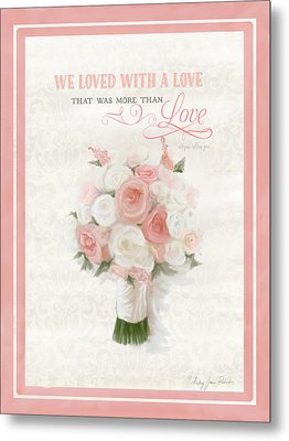 Love Typography Bridal Bouquet Damask Lace Coral Peach Blush Metal Print by Audrey Jeanne Roberts