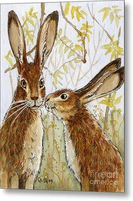 Lovely Rabbits - Little Kiss  Metal Print by Svetlana Ledneva-Schukina
