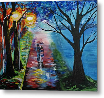 Lovely Stroll By The Lake Metal Print by Leslie Allen