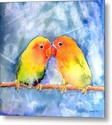 Lovey Dovey Lovebirds Metal Print by Arline Wagner