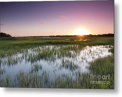 Lowcountry Flood Tide Sunset Metal Print by Dustin K Ryan