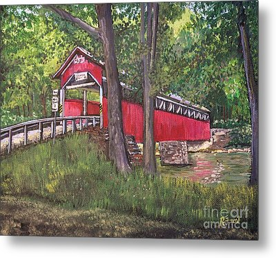 Lower Humbert Covered Bridge  Metal Print by Reb Frost