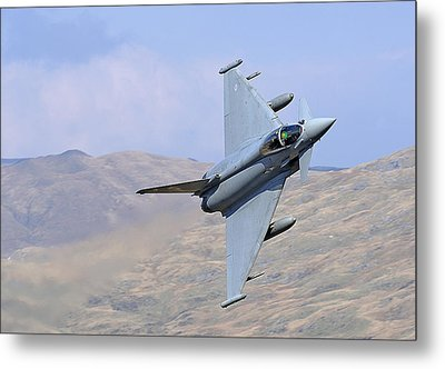 Lowflying Typhoon In The Welsh Hills 01 Metal Print by Barry Culling