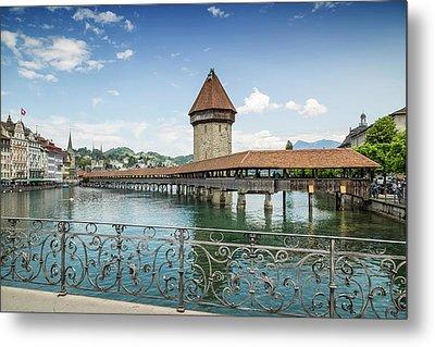 Lucerne Chapel Bridge And Water Tower Metal Print by Melanie Viola