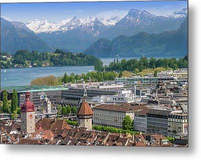 Lucerne View To Lake Lucerne Metal Print by Melanie Viola