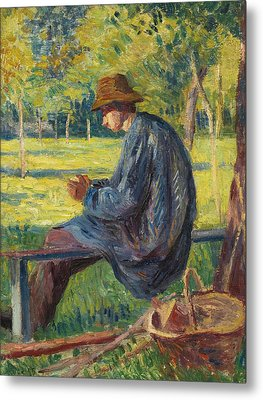 Ludovic Rodo Pissarro In The Garden Of His Father In Eragny Metal Print by Maximilien Luce