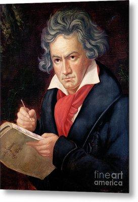 Ludwig Van Beethoven Composing His Missa Solemnis Metal Print by Joseph Carl Stieler