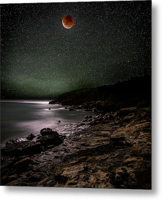 Lunar Eclipse Over Great Head Metal Print by Brent L Ander
