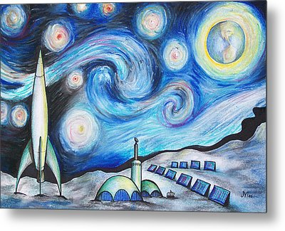 Lunar Starry Night Metal Print by Jerry Mac