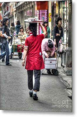 Lunch Run In Namdaemun Metal Print by Michael Garyet