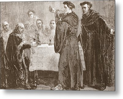 Luther Challenging Carlstadt To Write Against Him Metal Print by English School