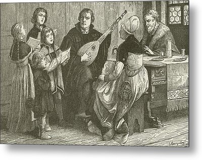 Luther In The Midst Of His Family Metal Print by American School
