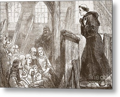 Luther Preaching In The Old Wooden Church At Wittemberg Metal Print by English School