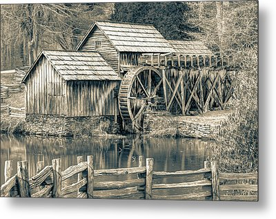 Mabry Mill In Black And White Metal Print by Gregory Ballos