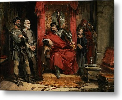 Macbeth Instructing The Murderers Employed To Kill Banquo Metal Print by George Cattermole