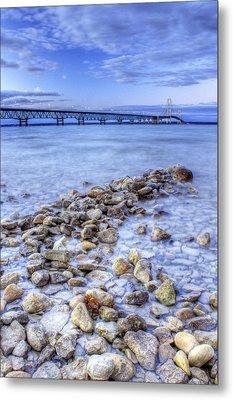 Mackinac Bridge From The Beach Metal Print by Twenty Two North Photography