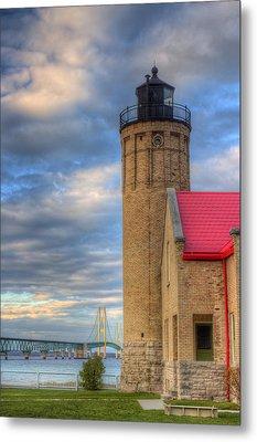 Mackinac Lighthoue And Bridge Metal Print by Twenty Two North Photography
